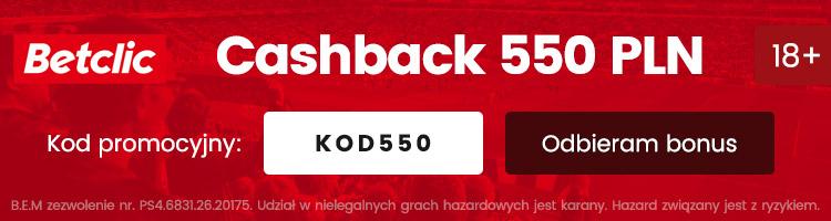 nowy bonus w betclic cashback 550